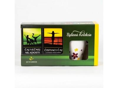 Bylinná kolekcia-Čaj večnej mladosti,Čistiaci čaj s cezmínou+hrnček