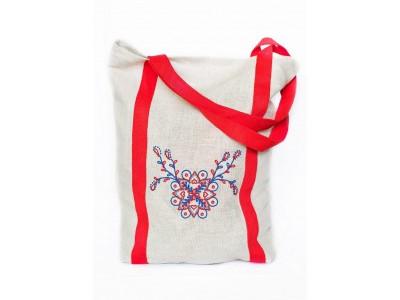 Ľanová taška s folklórnym motívom